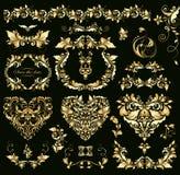 Formar den guld- designen för blom- tappning med hjärta för att gifta sig inbjudningar vektor illustrationer