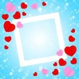 Formar den vita ramen för fyrkanten och röd rosa hjärtaform för bakgrund för kort för mallbanervalentin, många hjärtor p stock illustrationer