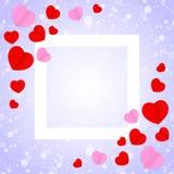 Formar den vita ramen f?r fyrkanten och r?d rosa hj?rtaform f?r bakgrund f?r kort f?r mallbanervalentin, m?nga hj?rtor p? purpurf royaltyfri illustrationer