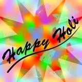Formar färgrik grungebakgrund för den lyckliga holien med lycklig holi för inskrift, lösa färgrika färgstänk i semitransparent st Arkivfoto