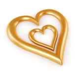 formar guld- hjärta 3d Royaltyfri Bild
