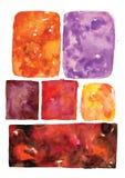 Formar ojämna rektanglar för vattenfärgen, vektorkonstramar, prickigt abstrakt begrepp Royaltyfria Foton