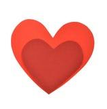 Formar röd pappers- hjärta två Arkivfoto