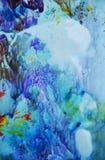 Formas abstratas da aquarela em cores azuis, fundo abstrato ilustração stock