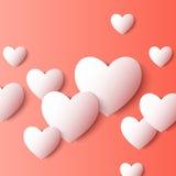 Formas abstratas do coração do papel 3D Fundo do vetor Fotos de Stock Royalty Free