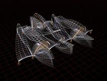 Formas arquitectónicas. modelo del alambre 3d