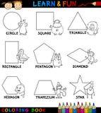Formas básicas com os animais para a coloração Imagem de Stock Royalty Free