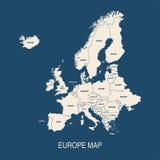Formas coloreadas mapa de los países de Europa Fotografía de archivo libre de regalías