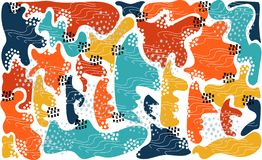 Formas coloridas consistindo e detalhes do fundo abstrato brilhante ilustração royalty free