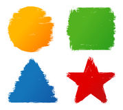Formas coloridas pintados à mão do curso da escova do grunge abstrato Imagens de Stock