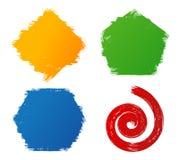 Formas coloridas pintados à mão do curso da escova do grunge abstrato Imagens de Stock Royalty Free