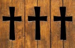 Formas cruzadas en la madera Foto de archivo libre de regalías
