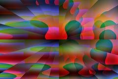 Formas cubistas azuis e verdes vermelhas abstratas da ilusão Imagens de Stock