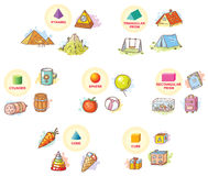 formas 3d com objetos do exemplo da vida quotidiana ilustração royalty free