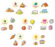 formas 3d con los objetos del ejemplo a partir de la vida cotidiana libre illustration