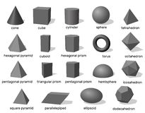 Formas 3d geométricas básicas Isolado no fundo branco Vetor Foto de Stock