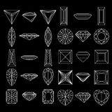 Formas da coleção do diamante no fundo preto Fotos de Stock Royalty Free