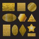 Formas de cerámica del mosaico de oro determinado Imágenes de archivo libres de regalías
