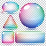 Formas de cristal multicoloras transparentes stock de ilustración