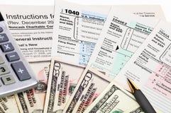 Formas de impuesto 1040. Fotos de archivo libres de regalías