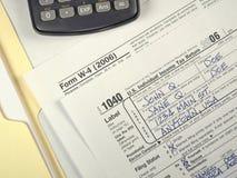 Formas de impuesto de los E.E.U.U. Fotografía de archivo libre de regalías