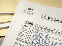 Formas de impuesto de los E.E.U.U. Imágenes de archivo libres de regalías