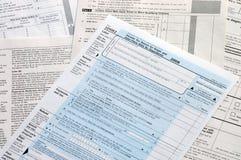 Formas de impuesto de los E.E.U.U. Imagen de archivo