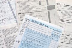 Formas de impuesto de los E.E.U.U. Imagen de archivo libre de regalías