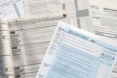Formas de impuesto de los E.E.U.U. Fotos de archivo libres de regalías