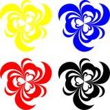 Formas de la flor con los corazones Stock de ilustración