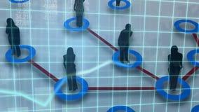 Formas de la gente que es conectada en un fondo del diagrama