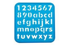 Formas de la plantilla del alfabeto y de los números Fotografía de archivo libre de regalías