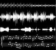 Formas de onda audios, notas de la música stock de ilustración