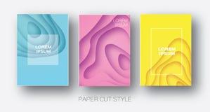 Formas de onda del corte del papel La papiroflexia acodada de la curva diseña para las presentaciones del negocio, aviadores, car Imagenes de archivo