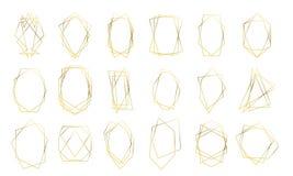 Formas de oro del diamante de los marcos del oro de la boda de la tarjeta geométrica de la invitación Marcos de lujo del oro del  stock de ilustración