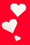 Formas de papel del corazón de la papiroflexia Fotografía de archivo