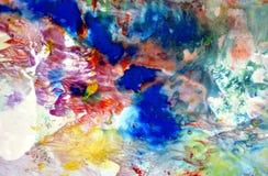 Formas de pintura em cores macias alaranjadas vermelhas azuis amarelas, fundo abstrato ilustração stock