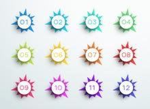 Formas de punta 1 a 12 del extracto del punto de bala del número libre illustration