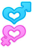 Formas del corazón con las muestras masculinas y femeninas del género aisladas en blanco Fotos de archivo