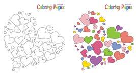 Formas del corazón de la página que colorean Fotografía de archivo