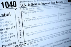 Formas del impuesto sobre la renta Imagen de archivo