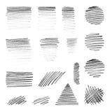 Formas del mano-drenaje del vector con textura del lápiz Foto de archivo libre de regalías