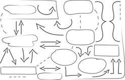Formas dibujadas mano y flechas stock de ilustración