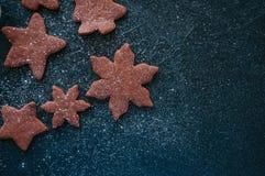 Formas diferentes das cookies do pão-de-espécie do chocolate polvilhadas com Imagens de Stock Royalty Free
