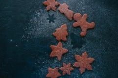 Formas diferentes das cookies do pão-de-espécie do chocolate polvilhadas com Fotografia de Stock