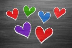 Formas do coração do giz da cor Foto de Stock