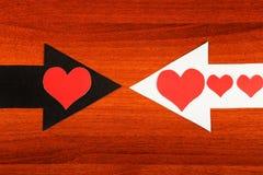 Formas do coração e as setas Fotografia de Stock