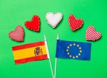 Formas do coração e bandeira da união e da Espanha de Europa Foto de Stock Royalty Free