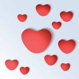 Formas do coração no fundo colorido Fotografia de Stock Royalty Free