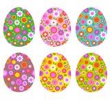 Formas do ovo do patternEaster dos pássaros dos cães dos gatos do dia de Patricks de Saint com testes padrões florais fotos de stock